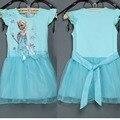 2017 Nuevas Muchachas de La Manera Vestido de Verano de Dibujos Animados Bebé Ropa de La Muchacha Del Partido Del Traje de Cosplay Vestidos de Princesa Elsa Anna Niños Vestidos