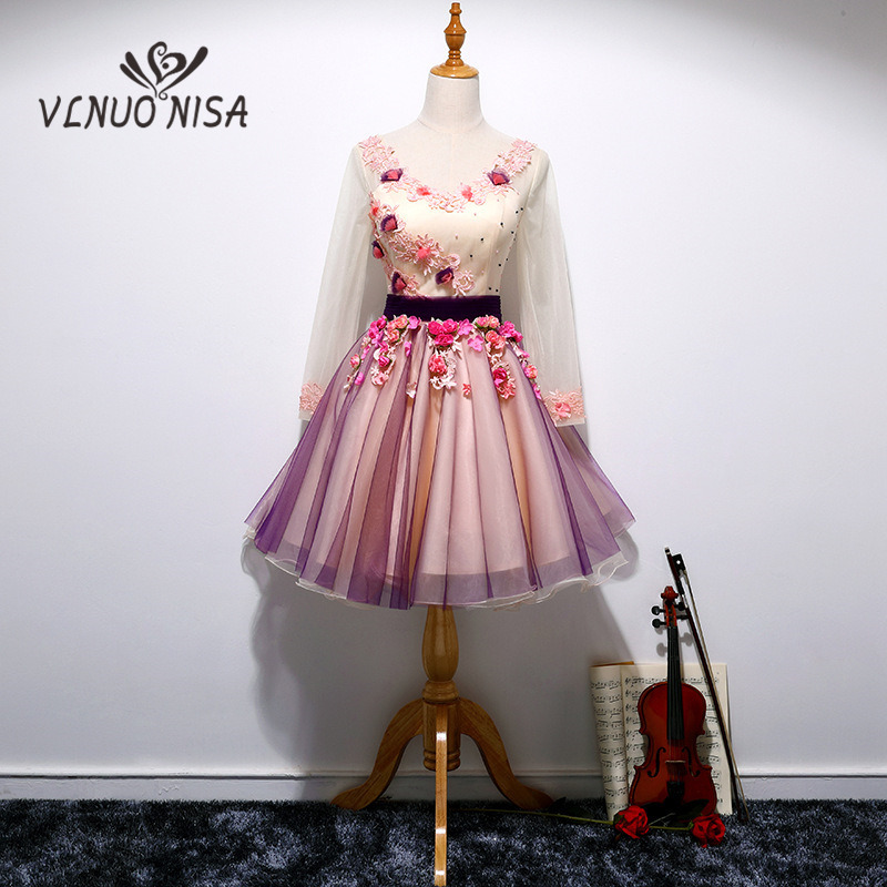 2018 New Arrival Vintage Evening Dress Full Sleeve  Sashes Spotted Pink Flowers Pearls Luxury Appliques A-Line Gown Vestido