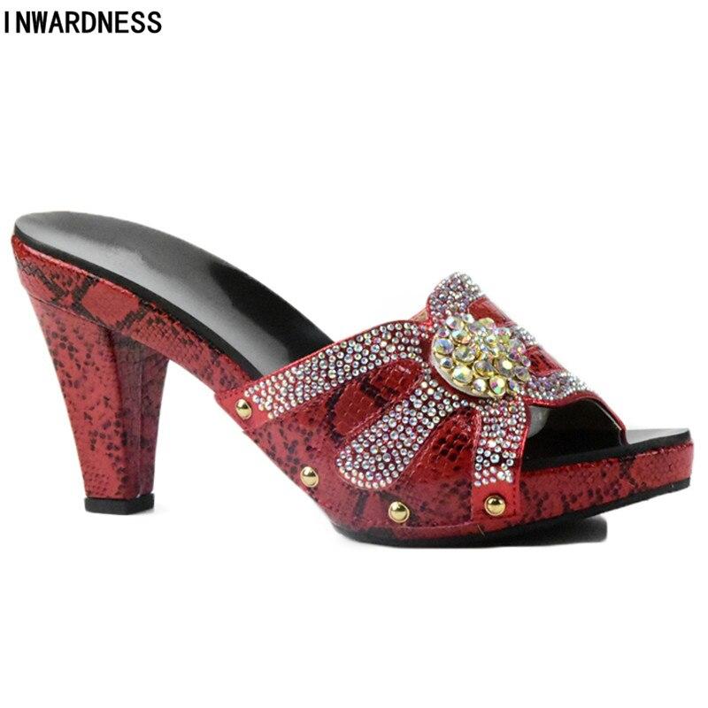 Décoré Correspondre rouge Apricot Dames Nigérian rose Italiennes noir Ensemble Strass Sacs Sac Chaussures Les Et À Femmes argent Assortis Pour Avec wPqSXw
