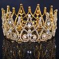 2016 Новый Роскошный Королевский Люкс Диадемы Золото Металл Ясно Горный Хрусталь Кристалл Люкс Корона Свадебные Прически Аксессуары Big crown