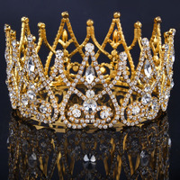 2015 New Luxury Royal Bridal Tiaras Gold Metal Clear Rhinestone Crystal Bridal Crown Wedding Hair Accessories