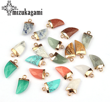 10*20mm 2pcs/lot Natural Stone Charms Pendant knife Tip Teeth Color For DIY Jewelry Accessories