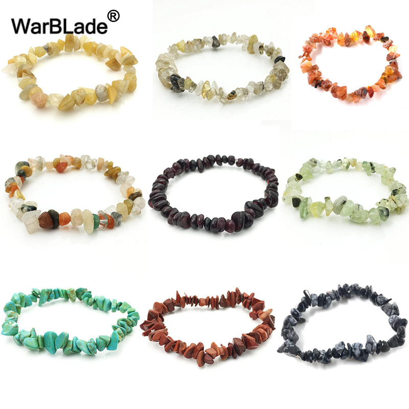 WBL 35Color Natural Gem Stone Bracelet Irregular Crystal Stretch Chip beads Nuggets Bracelets Bangles Quartz Wristband For Women
