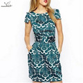 Fashion Women vintage Floral print green Dress short sleeve casual brand vestidos femininos plus size summer style Dresses
