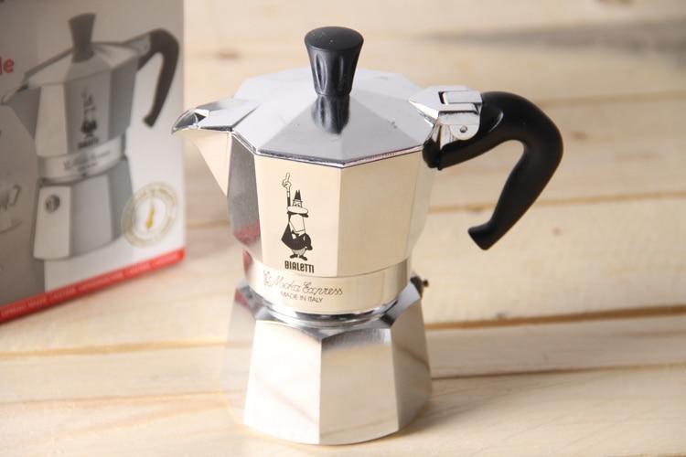 FeiC 1pc Bialetti Moka Pot 2 Cup 100ml Espresso Maker Aluminum Metal Pot For Stove For Barista