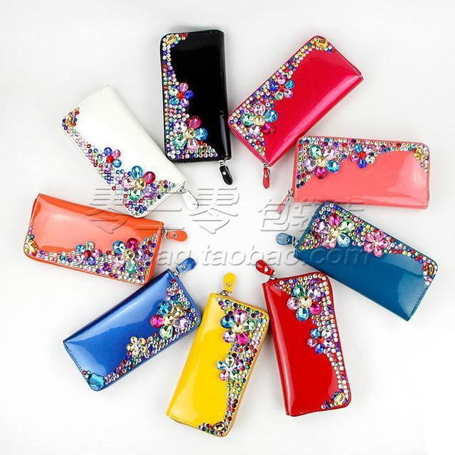 Free shipping wholesale & retail 2013 New Style Wallet Good Quality Point Drill Ornament Women Clutch Wallet