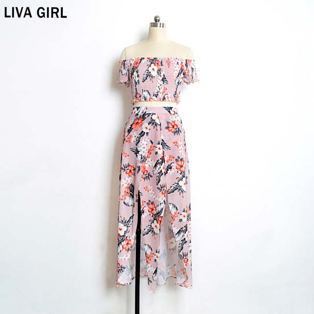 Sexy Slash Neck Short-Sleeved Print Bohemian Chiffon Long Dress