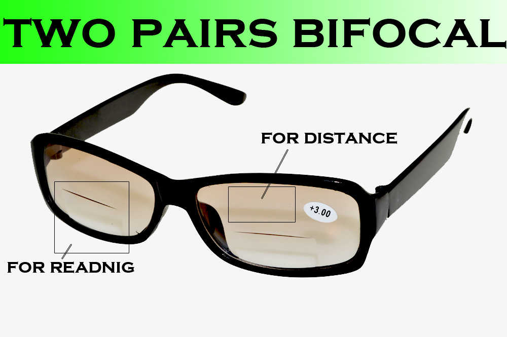 Clara Vida  TWO PAIRS Black frame shallow brown gradient antiblue ray bifocal multifocal men women reading glasses +1 +1.5 to +4