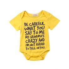 0-24M Baby Boy Girl Casual Short Sleeve Summer Versatile Letter Jumpsuit Bodysuit Clothes Outfits yu(China)