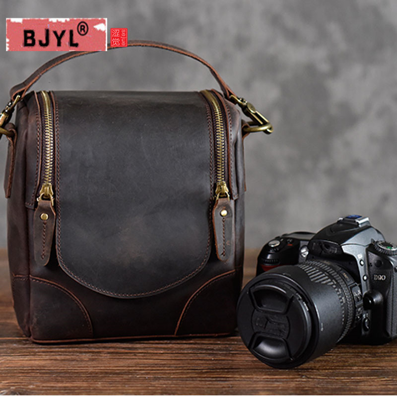 BJYL Crazy horse leather camera bag retro literary first layer leather shoulder slung men and women handbags photography bag new crazy horse leather bag travel bag men and women handbag first layer leather retro handmade shoulder diagonal