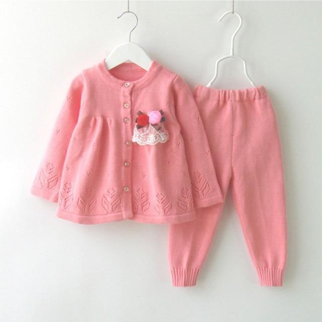 12 М до 24 М малыш девушки цветок вязаный кардиган свитер с свитер брюки устанавливает новорожденных девочек случайные 2 шт. наборы одежда