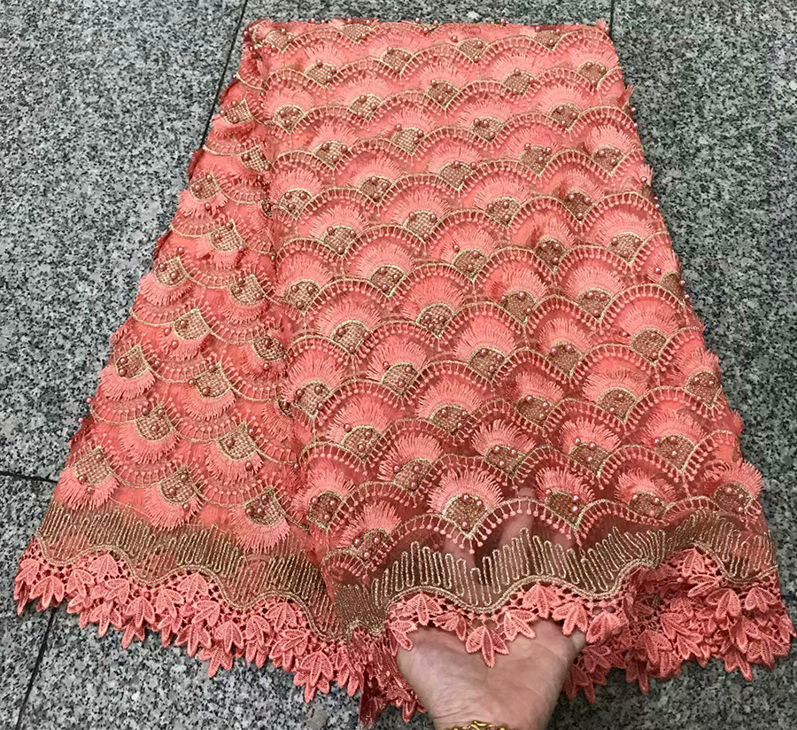 Latest style African peach Lace Fabric High Quality Tulle African French Net Lace With Stones African Lace For Nigerian Wedding