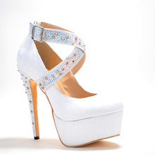 Fashion Suede Leather Women's Stiletto Platform Rhinestone With Buckle  zapatos mujer Cross-Strap Women Shoes 2015 Sandals