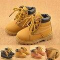 NOVA Primavera 2016 Crianças Martin botas Crianças sapatos Casuais Crianças de couro PU Ankle Boots Moda Inverno do bebê meninas meninos sapatos