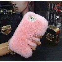 Xiaomi Mi4i Luxury Diamond Bling Rabbit Fur Case Plush Furry Back Cover For Xiaomi Mi4c 5inch