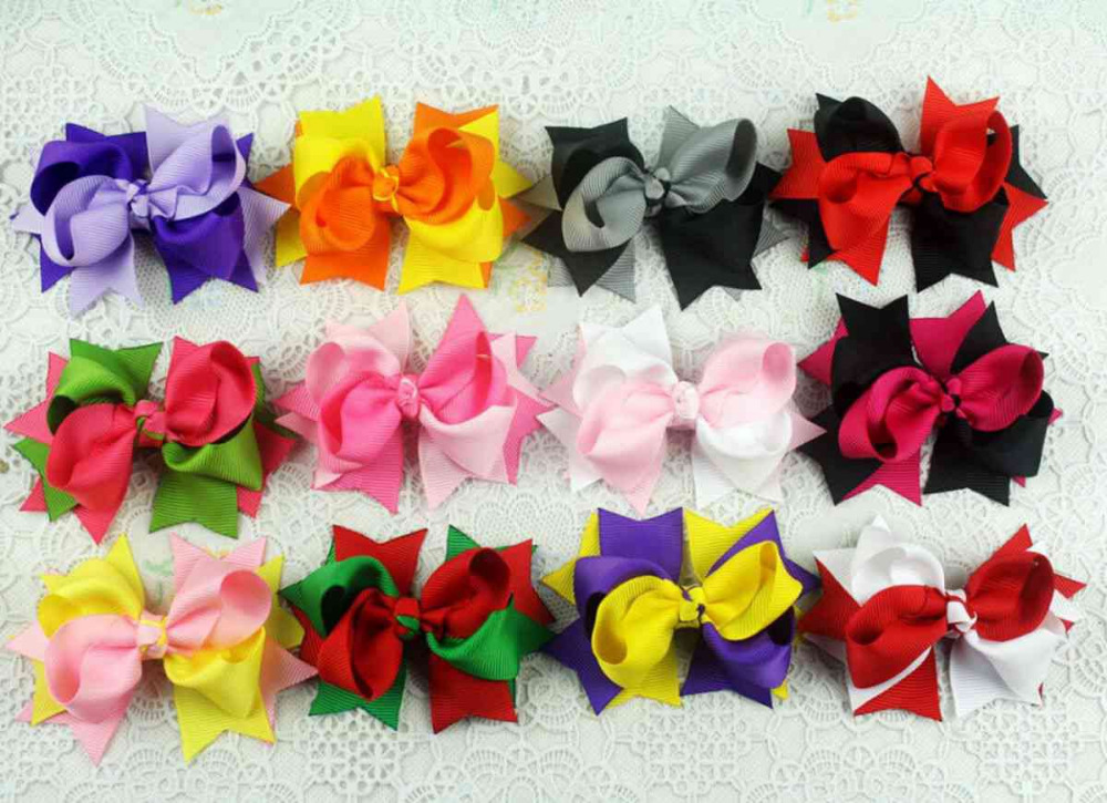 100pcs handmade hairgrip 3 grosgrain ribbon Bowknot two tone  hair bows clips boutique headwear hair elastic accessories HD3205hair  bowsbow cliphair bow clip