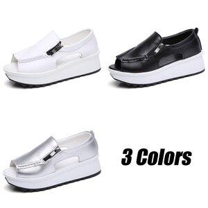 Image 4 - 2019 קיץ נשים פלטפורמת סנדלי נעלי עור אמיתי גבירותיי טריזי סנדלי בוהן פתוח רוכסן Sandalias נעלי נשים 8332