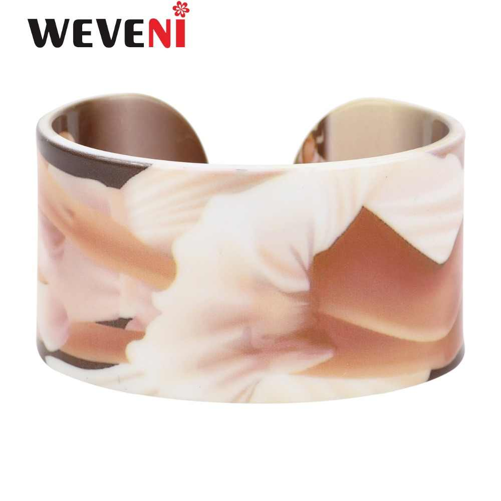 WEVENI Wide Love Sexy Marilyn Monroe Bracelets Bangles Fashion Acrylic Printing Jewelry For Women 2017 New Girl Accesssories