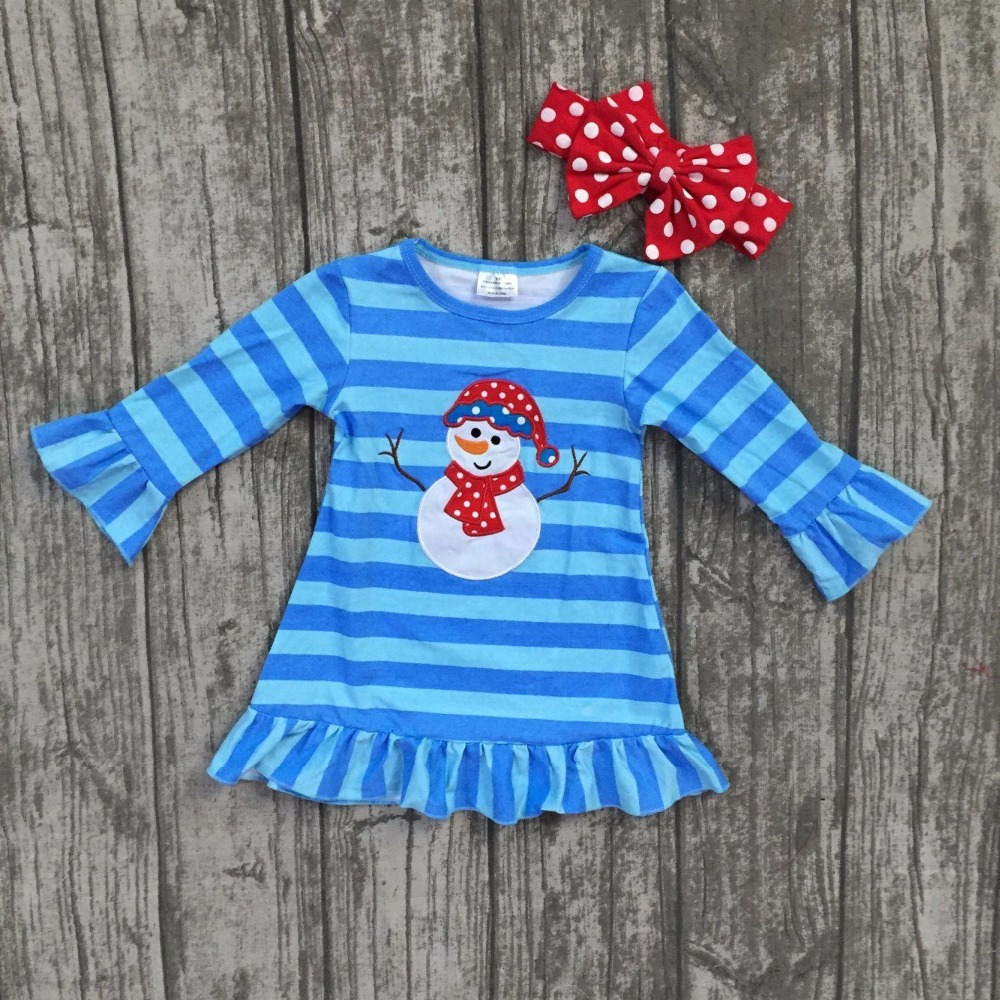 все цены на Christmas fall/winter baby girls cotton outfits red blue striped ruffle boutique outfits children clothes dress match headwear