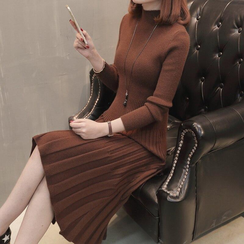 Femmes pull robe belle et chaude 2019 nouveau automne et hiver mince femme tricot robe de mode Style coréen vente chaude A49