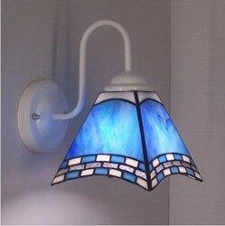 Śródziemnomorski niebieski szkło led tiffanylampe kinkiety montowane na powierzchni kinkiet do dekoracji wnętrz w Wewnętrzne kinkiety LED od Lampy i oświetlenie na