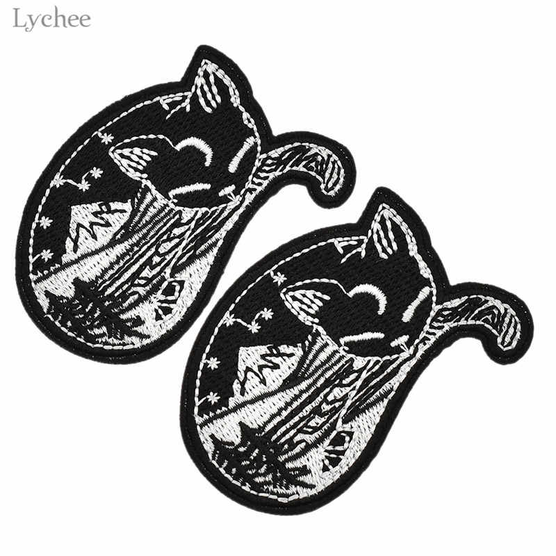 Lychee 2pcs Forest Protector Sleeping Gothic Cat Patch Embroidery Sewing Accessory Iron On Clothes DIY Handmade Sewing Applique