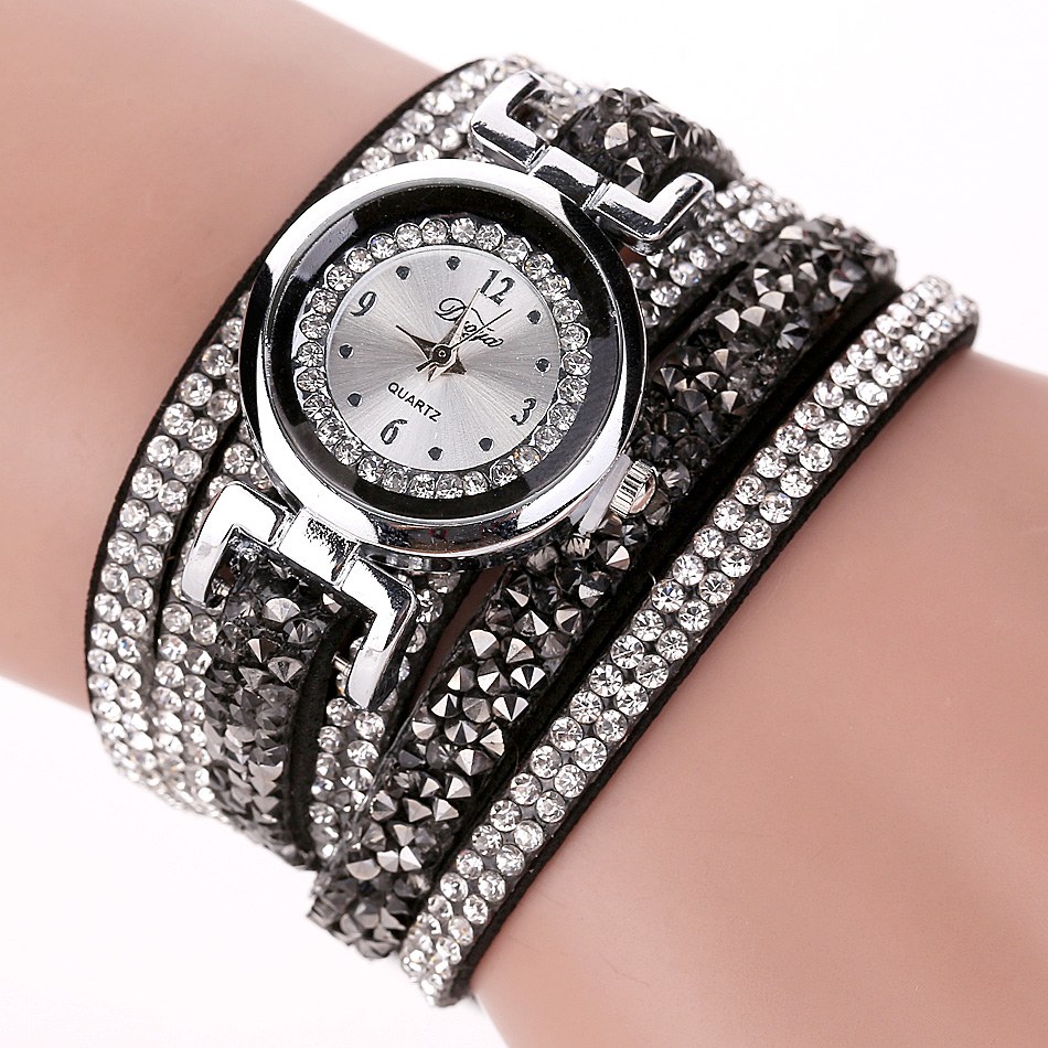 где купить Duoya Brand Fashion Dress Watches Women Casual Silver Crystal Leather Quartz Wristwatch Ladies Classic Bracelet Vintage Watch по лучшей цене