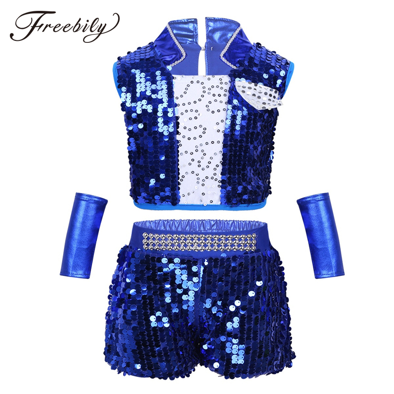 Kids Sequin Hip Hop Clothing Clothes For Girls Crop Tops Shorts Wrist-Sleeves Jazz Dance Costume Ballroom Dancing Streetwear