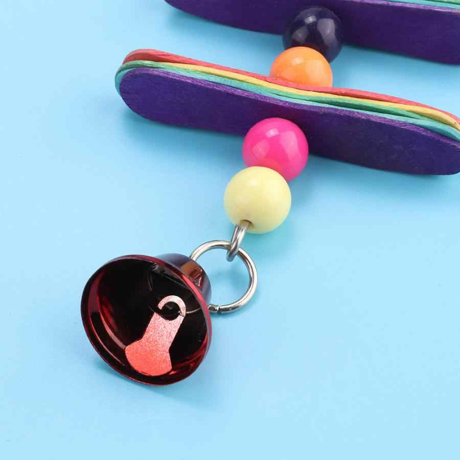 Bird Toy Toys For Parrots 2 PCS Birds Swing Toy Double Hanging Ladder Metal Chain Toys With Bells Budgie Cockatiel