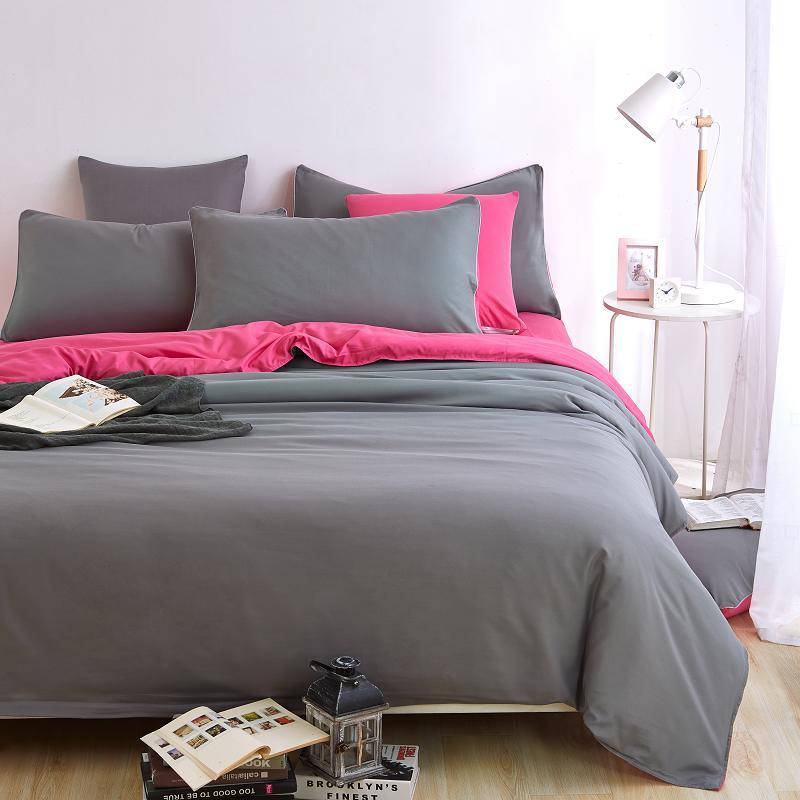 Rosa + gris Duvet cover set juegos de cama, Doble edredón único cubre king size,