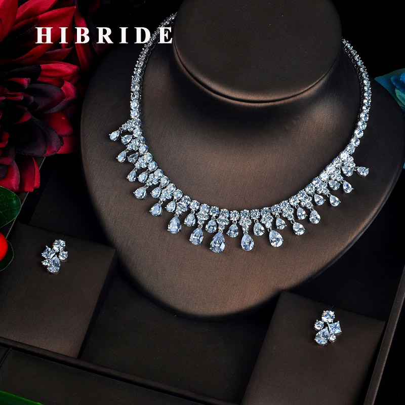 HIBRIDE luxe étincelles cubique Zircon goutte d'eau pendentif ensembles de bijoux pour les femmes conception de mode Pendientes Mujer Moda N-619