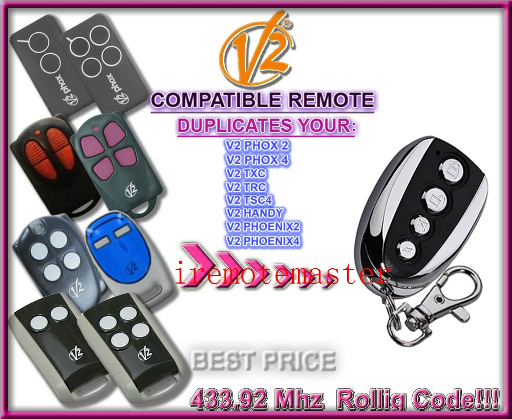 Aftermarket V2 garage door remote ,V2 transmitter ,V2 radio control ,V2 rolling door remote repacement Rolling code 433.92MHZ v2 replacement remote control transmitter 433mhz rolling code top quality page 5