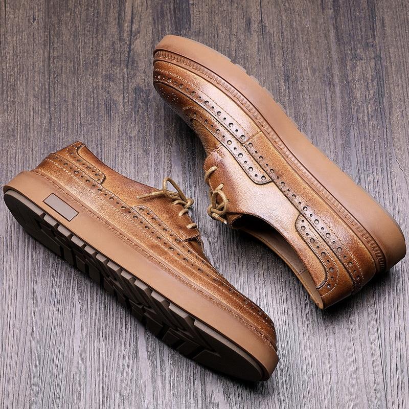Preto Sapatos Redondo Pé Venda Homens Lace De Projetistas Sapatas Dos Couro Dedo Vestido Luxo Casual Hombre Zapato Do Flats Mycolen brown up Quente Escritório BxqPwEBvS