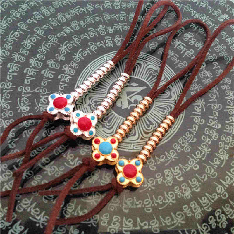 BRO015 Tibetan Mini Mala Counter Pair Endless Knots Silver & Golden 20 Copper Alloy Beads