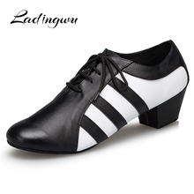 Ladingwu New Genuine Leather Shoes Men Ballroom Dance Man Soft Bottom Wedding Latin  indoor Heel 2.5/4.5