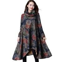 Moda bahar yeni kadın baskı eşarp yaka dress çin tarzı qaulity marka bayanlar vintage ulusal dress gevşek giyim