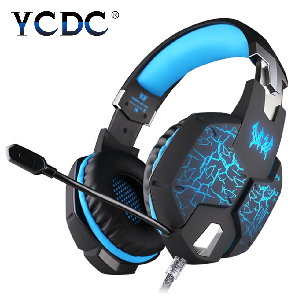 G1100 3.5mm Pro Gaming Headset Headphone For PS4 Laptop Crack Pattern LED LED Blue / Black / Red / white