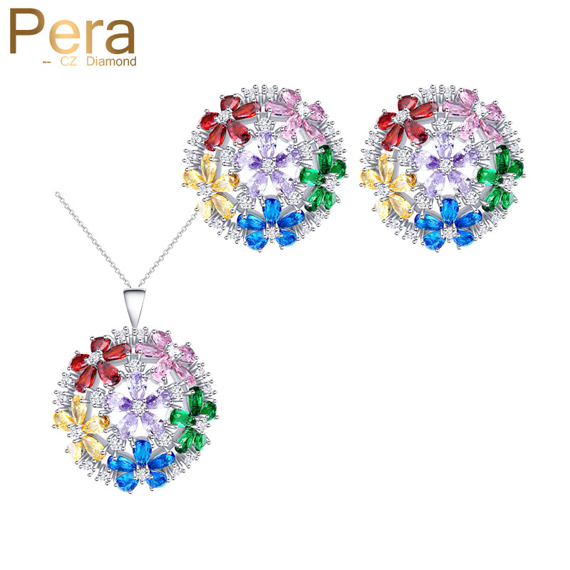 Pera Glittering 925 Sterling Silver CZ Round Shape Cubic Zirconia Big Multicolored Women Earrings And Necklace Jewelry Set J235Pera Glittering 925 Sterling Silver CZ Round Shape Cubic Zirconia Big Multicolored Women Earrings And Necklace Jewelry Set J235