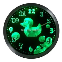 nc0462 Cutie Duck Boys Girls Kids Nursery Room Gift Decor Neon LED Wall Clock