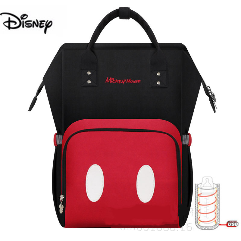 Disney Mummy Bag With USB Heater Baby Diaper Bag With Wet Bag Maternity Nappy Stroller Bag Mickey Backpack For Baby Care Bag