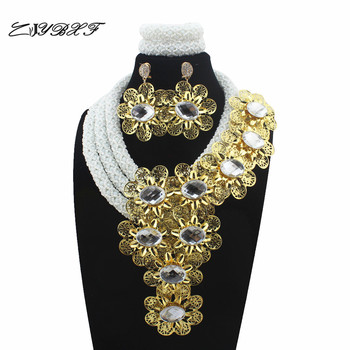 New Nigerian White Crystal Statement Necklace women yellow flower Wedding African beads Jewelry Sets Free Shipping L1053
