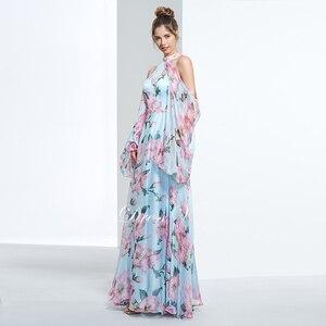 Image 3 - Dressv недорогое вечернее платье с принтом для выпускного вечера, платье трапециевидной формы с лямкой через шею и длинными рукавами, вечернее платье, элегантное женское длинное вечернее платье es