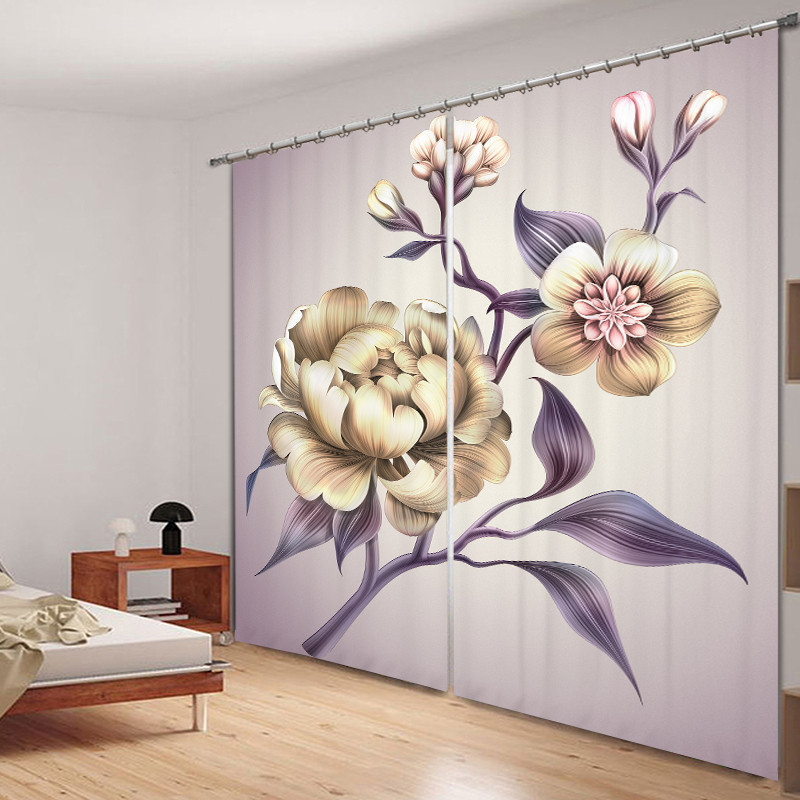 3D Poney Flower Curtains Decorative for Bedding Room Window Curtain Thick Soft Backout Shade Shround for Home