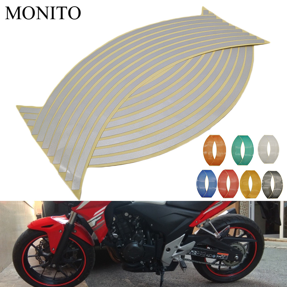 2019 Motorcycle Wheel Stickers Motocross Reflective <font><b>Decals</b></font> Rim Tape Strip For KAWASAKI KX65 KX85 KX125 KX250 <font><b>KX250F</b></font> KX450F KX100 image