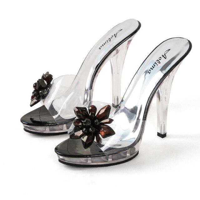 Transparente Verano Abierta Zapatos Las Zapatillas Punta Sandalias CristalMujer Al De Aire Libre MujeresFlores wOnPk0