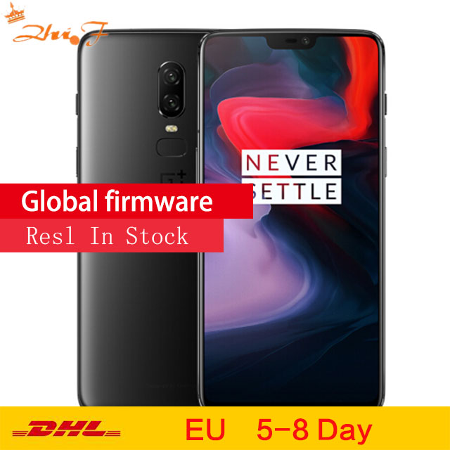 D'origine OnePlus 6 8 GB 128 GB Snapdragon 845 Octa Core 20MP + 16MP AI Double Caméra Face Unlock Android 8 OxygenOS Smartphone NFC