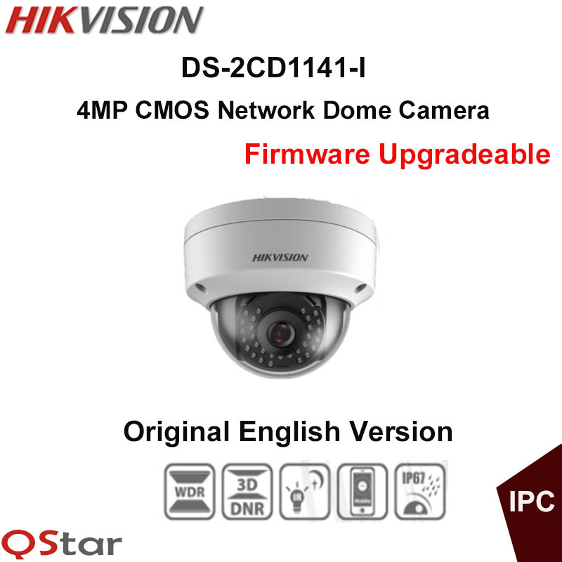 Hikvision Original English CCTV Camera DS-2CD1141-I replace DS-2CD2145F-IS 4MP Dome IP Camera POE IP67 30m Firmware Upgradeable hikvision original english cctv camera ds 2cd2142fwd is 4mp fixed dome ip camera poe audio ip67 junction box ds 1280zj dm18