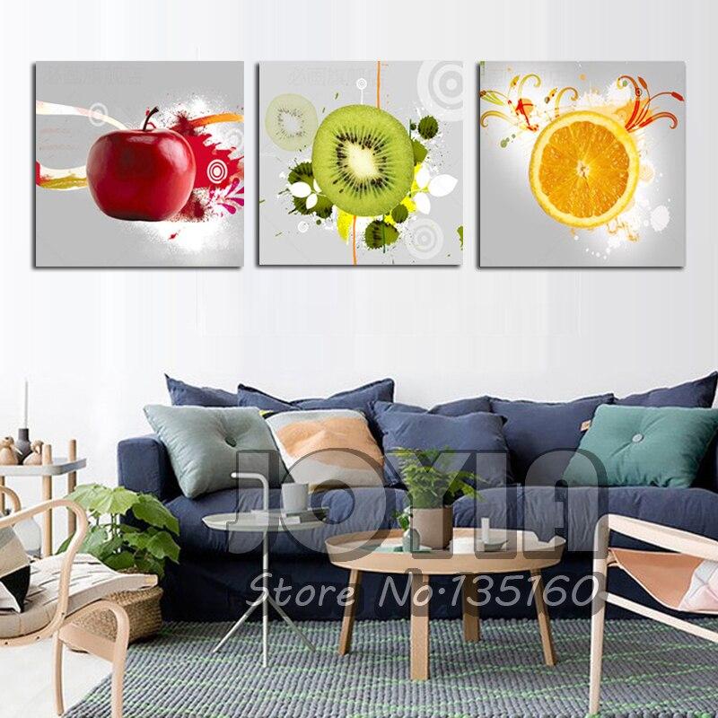 Aliexpress com buy 3 panels wall art kitchen decorative fruit painting printed modern canvas