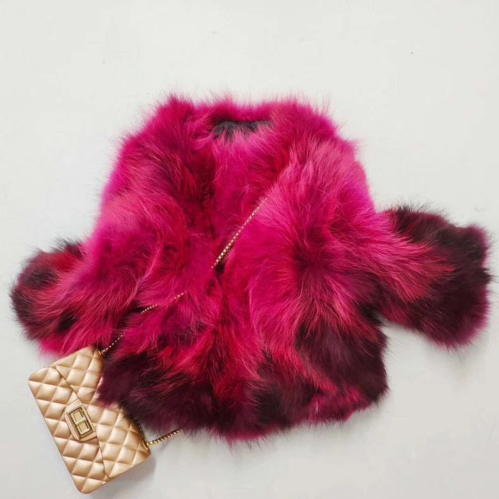 Girls Natural Raccoon Fur Coat Autumn Winter Jacket Elegant Baby Girl Real Fur Jackets And Coats Thick Warm Parka Outwear  TZ357