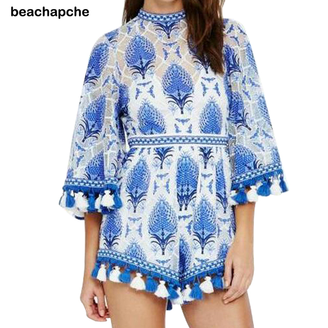 Chic pineapple print tassel jumpsuits romper Women summer lace flare sleeve overalls Casual beach playsuit